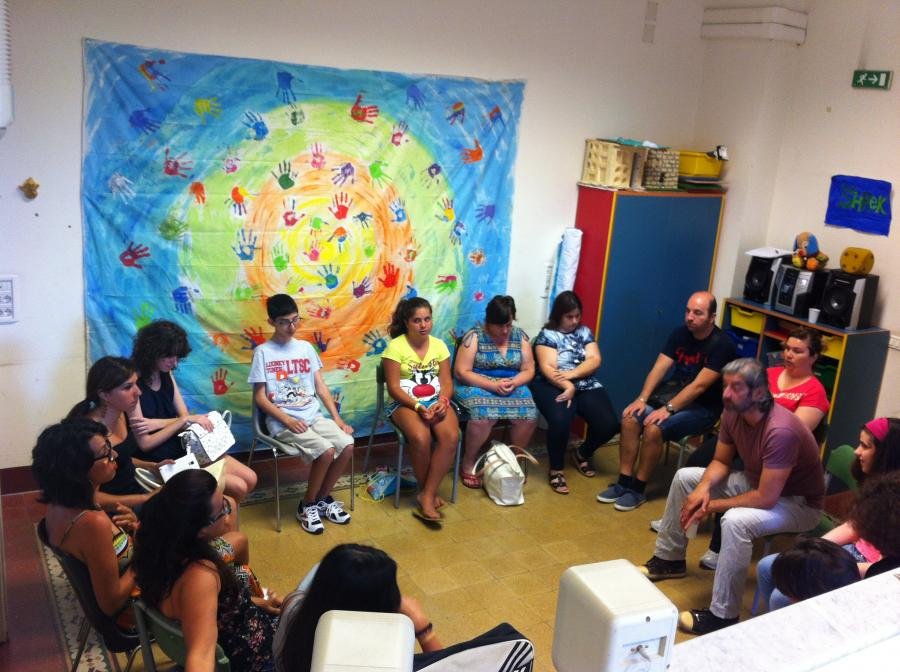 Images from meetings the local partners have been carrying out with visually impaired children in Palermo.